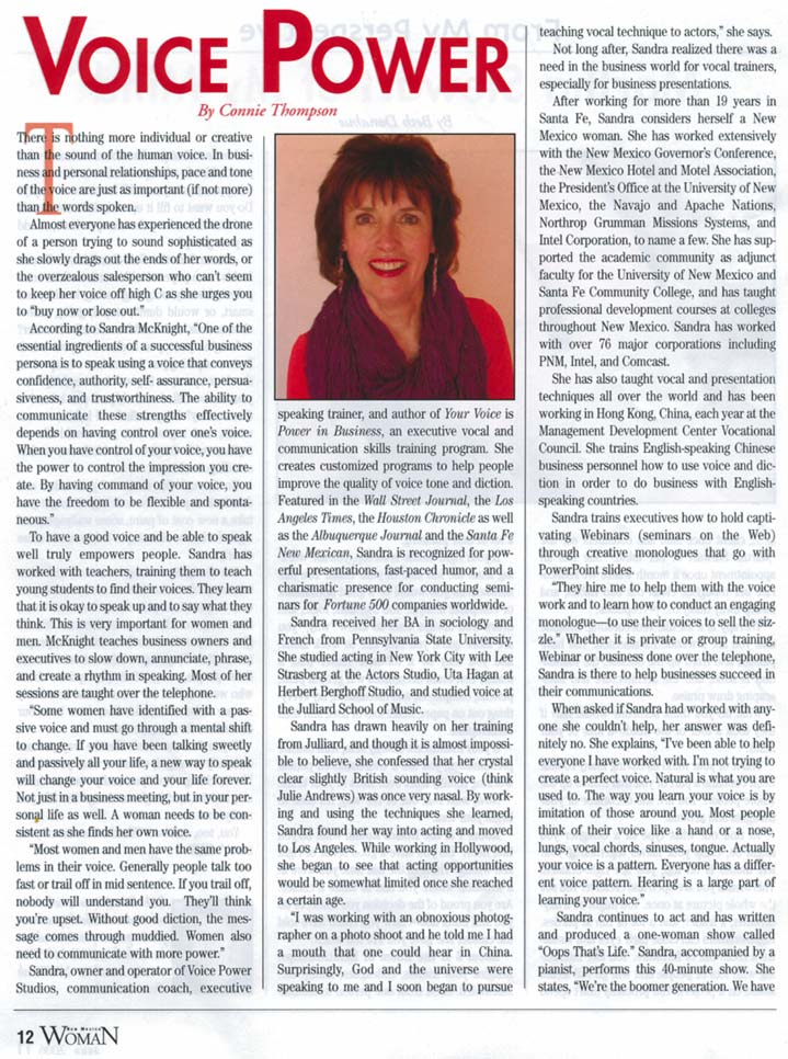 Article text for Sandra McKnight in New Mexico Woman Magazine